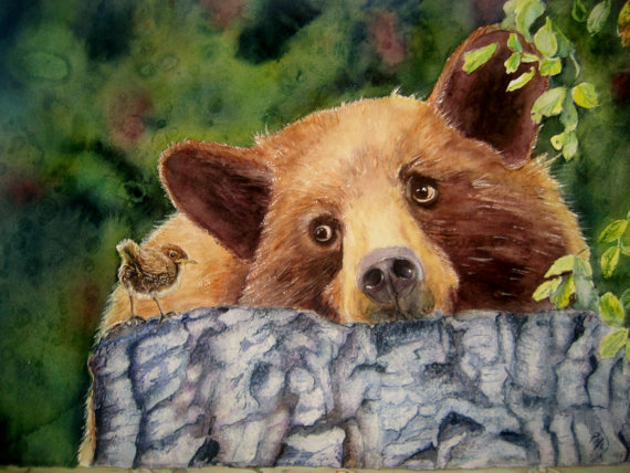 Bear And Wren Painting Southwestdesertlover
