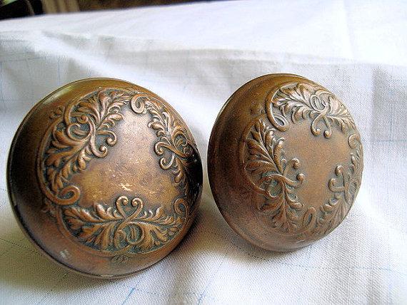 Antique brass door knobs victorian ornate