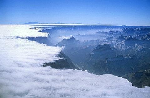 Aerial photo of Grand Canyon in Snow & Fog