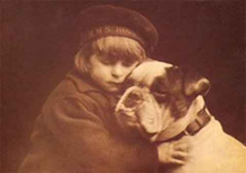 Antique Sepia English Bulldog being hugged by Little Girl Photo Decoupaged on Wood