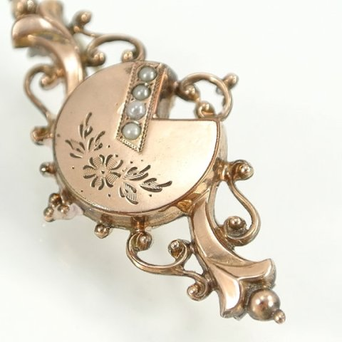 Antique Victorian Brooch, 1800s Victorian Jewelry, Gold Filled 830 Silver, Pearl, Vintage Floral Jewelry