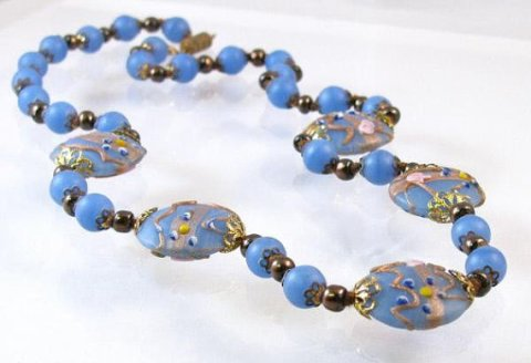 Art deco blue frosted glass hand painted beaded necklace