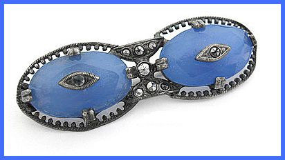 Vintage Art Deco CZECH Silver Blue Glass & Marcasite Bar Pin Brooch EX 1920's-30s