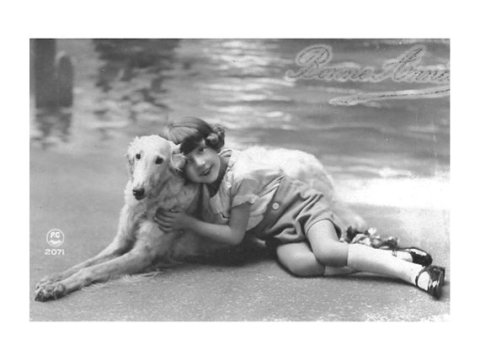 Borzoi Print from an Antique Postcard - Girl and Her Dog - 1910s 1920s