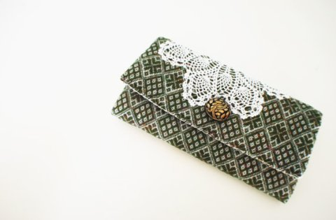 Forest Green Diamond Print Clutch from Upcycled Vintage Materials w/ Button and White Doily