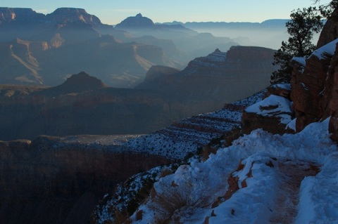 Grand Canyon early morning snow