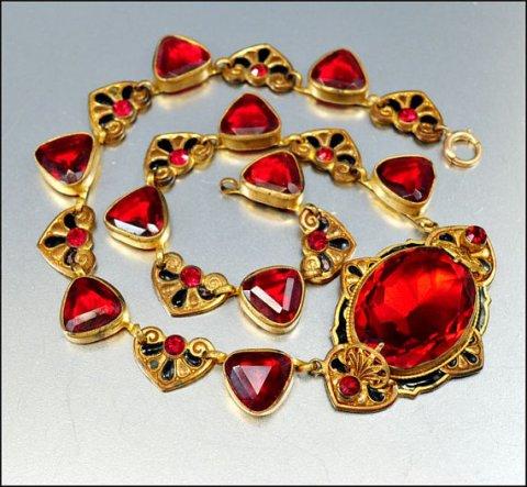 Red Glass Enamel Czech Necklace Art Deco Jewelry Vintage 1920s Jewelry Gold Heart