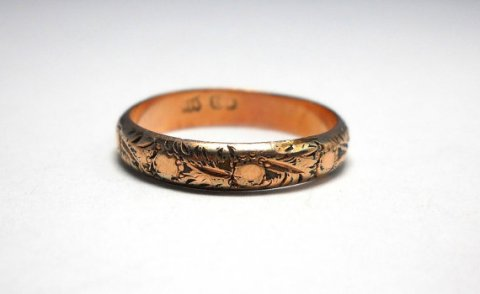 Vintage 18K Rose Gold Art Deco Orange Blossom Band Ring