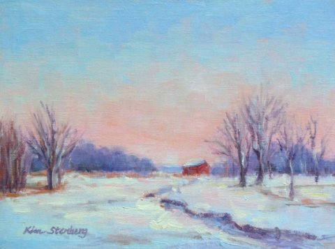 Winter Snow Field Twilight Original Oil Painting Landscape Sunset Sky Barn Country