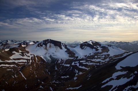 Mt. Edziza Nearby mountain ridge composed of columnar basalts