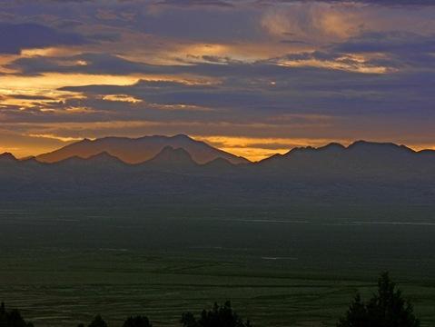 Sunrise over Pilot Peak from Goshute Valley