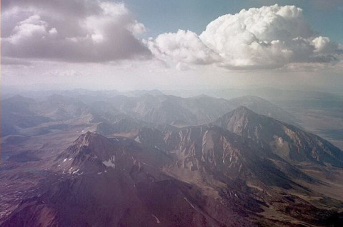 Sierra view of Mt Emerson, Humpheys, and the mighty Mt Tom from about 15,000ft.