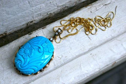 Amazing Vintage 9K Yellow Gold, Diamond, Pearl and Turquoise Pendant with Chain.