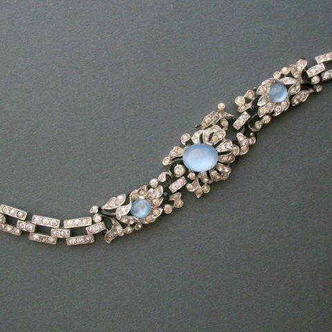 Art Deco Bracelet . Philippe for Trifari . Rhinestones Moonstone Glass Enamel . Vintage 1940 .