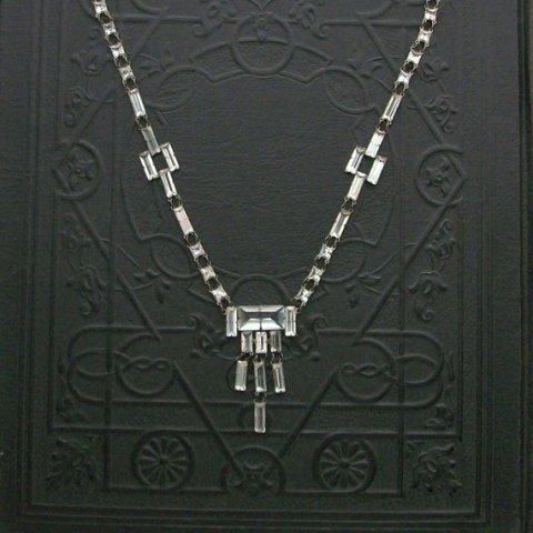 Art Deco Crystal Necklace. Rock Crystal. Quartz Crystal. Open Back Sterling. Geometric.