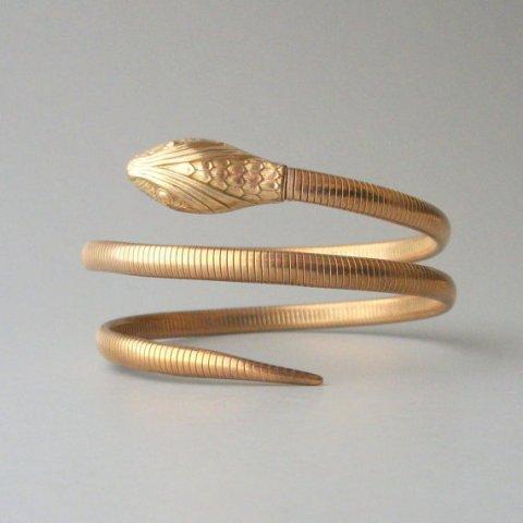 Gold Snake Bracelet. Forstner Gold Fill Double Coil.