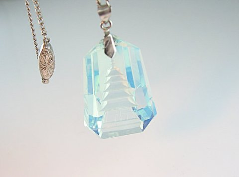 Luminous Japanese Pagoda Pendant Necklace Reverse Carved Glass Opalescent Blue 1950s Silver Clasp