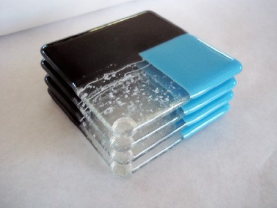 COASTERS - Santa Fe Turquoise and Black Fused Glass Coasters - Set of 4