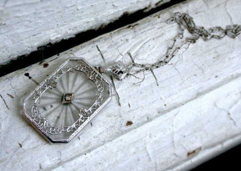 Great Vintage Diamond Camphor Glass Pendant in 14K White Gold with Original 16 inch chain