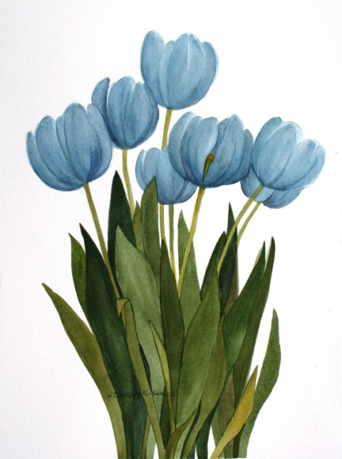Turquoise Blue Tulips Original Watercolor Painting