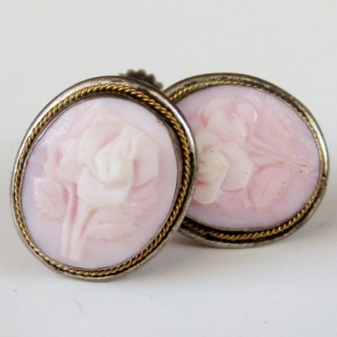 Vintage 40s Italian Sterling Silver Carved Rose Pink Shell Cameo Screw Back Earrings Italy 800 Silver