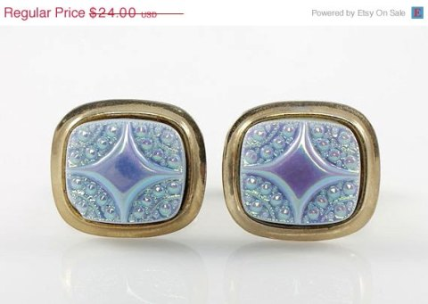 Vintage Iridescent Blue glass cufflinks