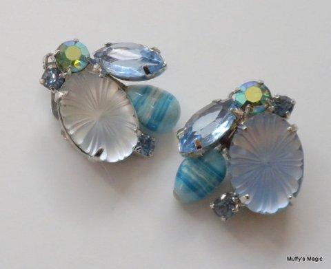 Vintage Juliana Blue Pillowcase Earrings Art Glass