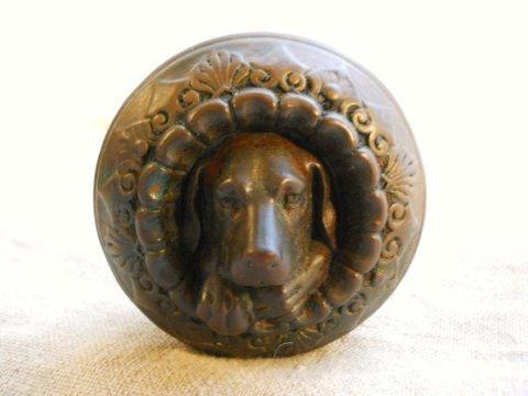1860s Figural Bronze Dog Doggie Door Knob Architectural Antique Metallic Compression Company Cast Bronze Sculpture - Hardware Salvage