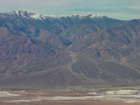 Telescope Peak with Hanupah Canyon alluvial fan in Death Valley National Park