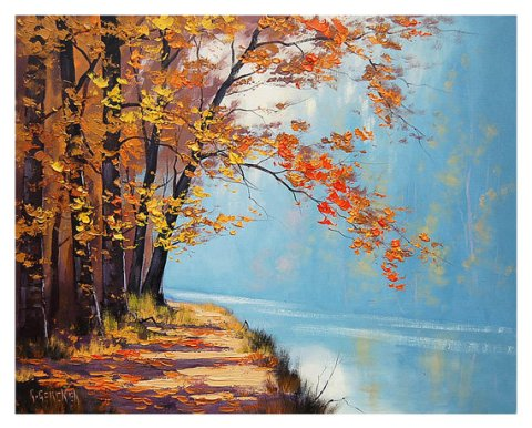 fall lake Oil Painting commissioned autumn fine art traditional landscape Graham gercken