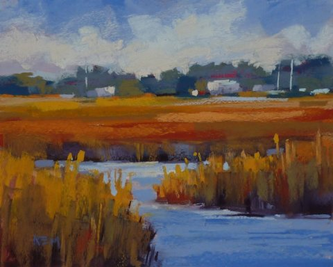Landscape Painting South Carolina LOWCOUNTRY ART Original Pastel Painting yellow gold