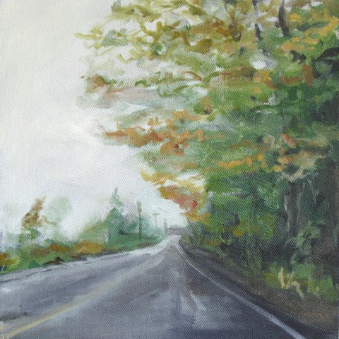 "Original Oil Painting ""Lebanon Road IV"" by Nick Ellard - landscape - maine - road - travel - green orange gray - 10 x 10"