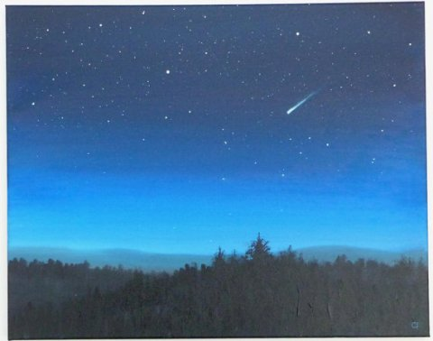 Night sky large stars landscape painting 16x20, astronomy, starry night, shooting star