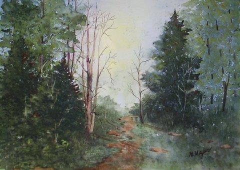 Original Watercolor Landscape Painting, matted 18 X 24