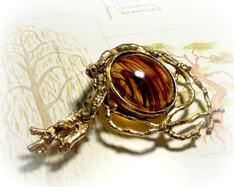 Vintage 1950's Handmade - Modernist - Nature Inspired - Branch Brooch Pin - with Glass Cabochon - Visions of Old