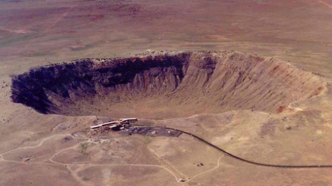 Meteor Crater, also known as Barringer Crater, is about 700 feet deep and three-quarters of a mile wide. It is located east of Flagstaff, near Winslow.