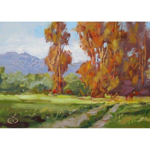 PLEIN AIR LANDSCAPE, Tom Brown Impressionist Original 5x7 inch Oil Painting
