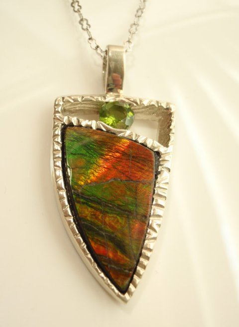 Ammolite and Peridot Sterling Silver Necklace Cuttlebone Cast Hand Made