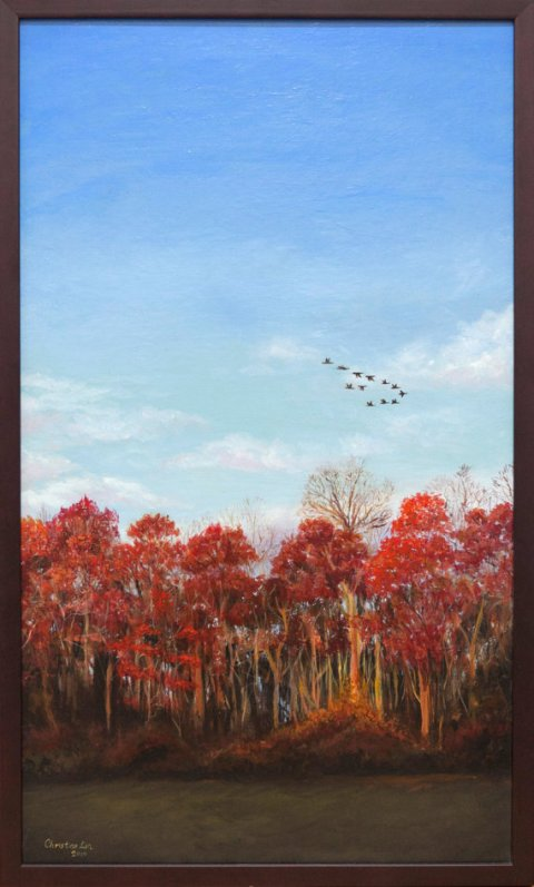 Autumn trees landscape: Acrylic painting