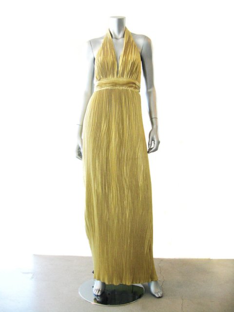 Vintage 1980's Vicky Tiel Metallic Gold Pleated Deep-V-Neck Halter Column Evening Gown