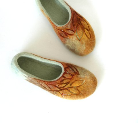 Hand felted slippers Golden Autumn natural brown yellow green