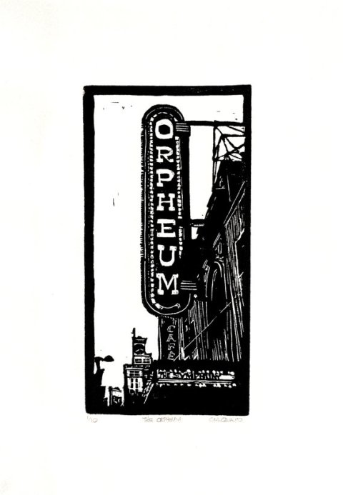 The Orpheum - Linocut Black on White Paper