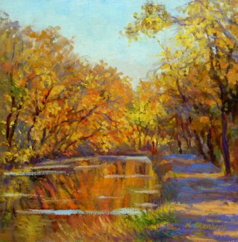 Autumn C and O Canal Fall Colors Washington DC Historic Canal Original Oil Plein Air Landscape Painting Impressioinistic Golden Wall Art
