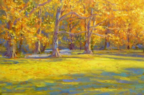 Autumn Central Park New York City Fall Colors Original Oil Landscape Painting for New York Lovers Mellow Golden Impressionistic Wall Art