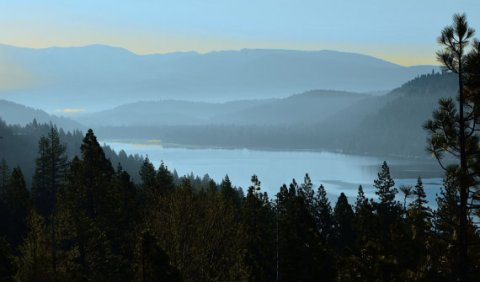 Color Photo of Donner Lake in the Misty Morning -- 9 x 12 Matte Print -- Fine Art Photography -- Landscape