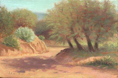 Southwest Art New Mexico Landscape, Santa Fe, Natural Arroyo, Original Oil Painting on linen panel, Plein Air, FREE SHIPPING