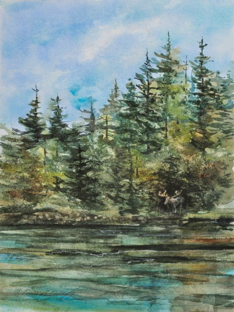 Out of the Woods // Watercolor Giclee Print // Maine // Moose // Pond // Lake // Forest