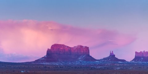 "12x24 Ready to Hang METAL PRINT ""Dusk at Monument Valley"""