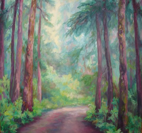 Large Original Oil Landscape, Forest, Fir Trees, Road,Shirin Mackeson