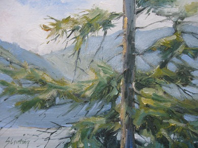 Spirit Lake Morning....Idaho...wind soughing through the trees...plein air